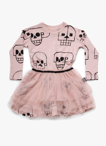 Nununu Skull Robot Tulle Dress in Powder Pink