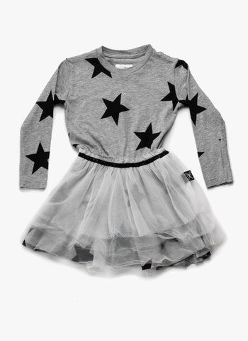 Nununu Star Tulle Dress in Heather Grey