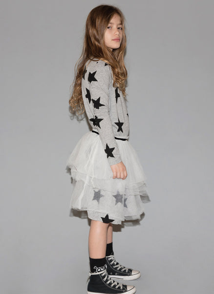 Nununu Star Tulle Dress in Heather Grey - FINAL SALE