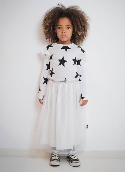 Nununu Star Tulle Dress in White - FINAL SALE