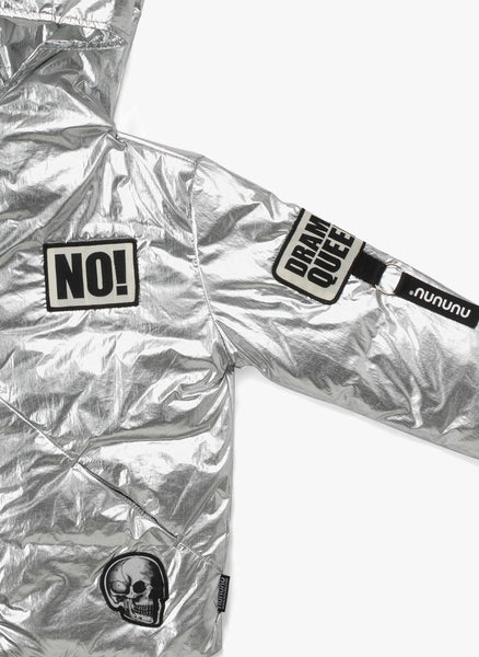 Nununu Super Patch Down Jacket in Silver - FINAL SALE