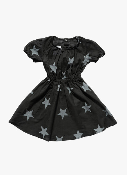 Nununu Doll Cotton Star Dress in Black - FINAL SALE