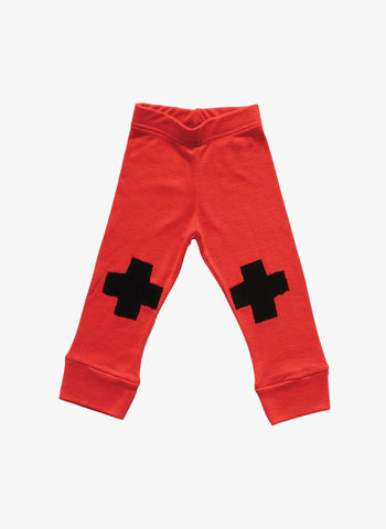 Nununu Plus Patch Leggings in Red - FINAL SALE