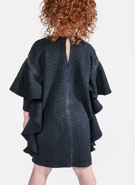 OMAMImini Quilted terry cape sleeve dress in Vintage Black