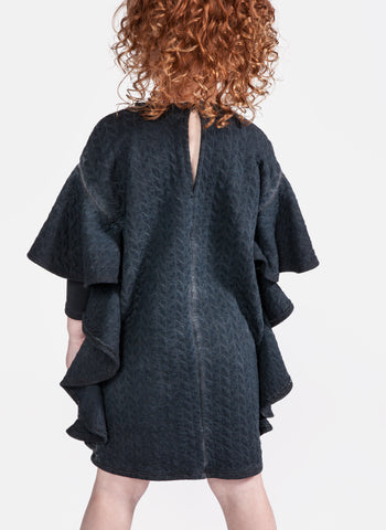 OMAMImini Quilted terry cape sleeve dress in Vintage Black - FINAL SALE