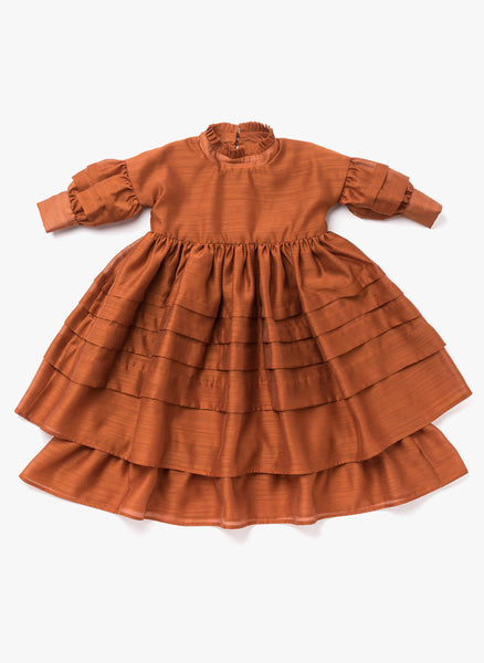 Omami Mini Layered Voile Dress in Rust - FINAL SALE