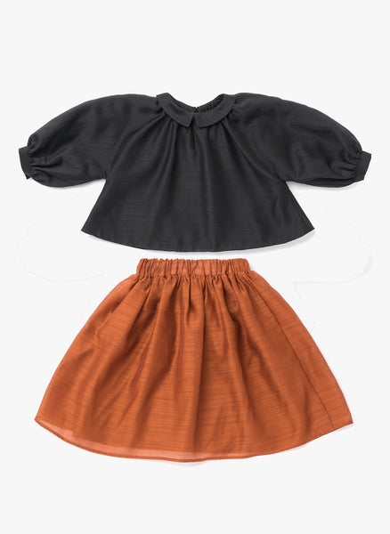 Omami Mini Layered Voile Skirt in Rust