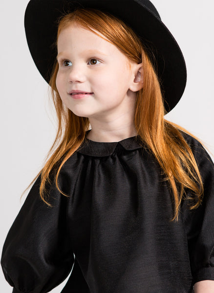 Omami Mini Peasant Voile Blouse in Black - FINAL SALE