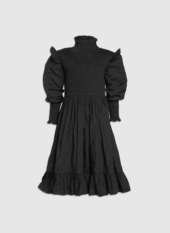 Petite Amalie Shirred Dress in Black
