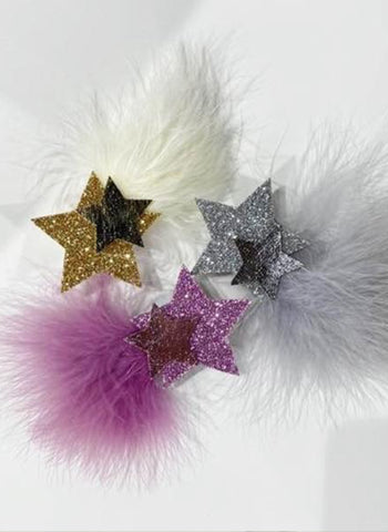 Petite Hailey Furry Star Tutu Clip in Silver and Gold