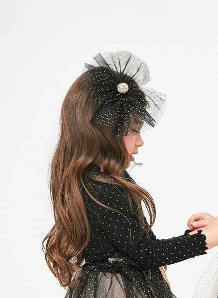 Petite Hailey Star Dot Bow in Black