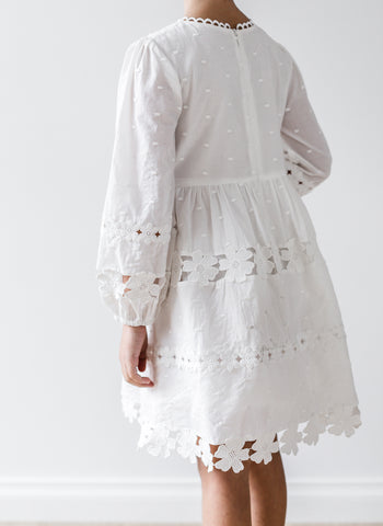 Petite Amalie Daisy Chain Dress in White - FINAL SALE