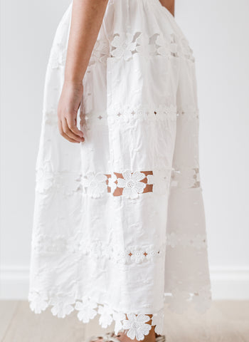 Petite Amalie Daisy Chain Skirt in White