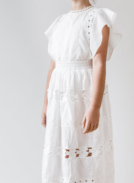 Petite Amalie Daisy Chain Top in White - FINAL SALE