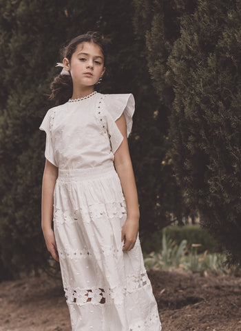 Petite Amalie Daisy Chain Skirt in White - FINAL SALE