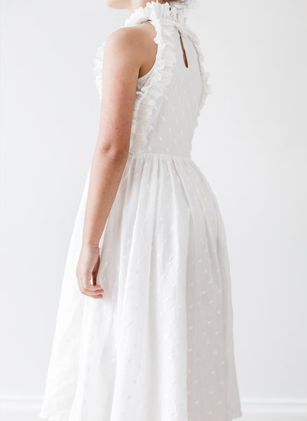 Petite Amalie Embroidered Dot Midi Dress in White - FINAL SALE