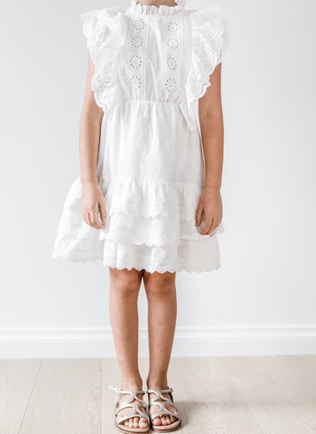 Petite Amalie Embroidered Ruffle Dress in White