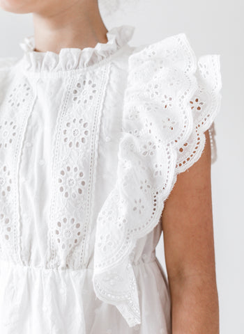 Petite Amalie Embroidered Ruffle Dress in White - FINAL SALE