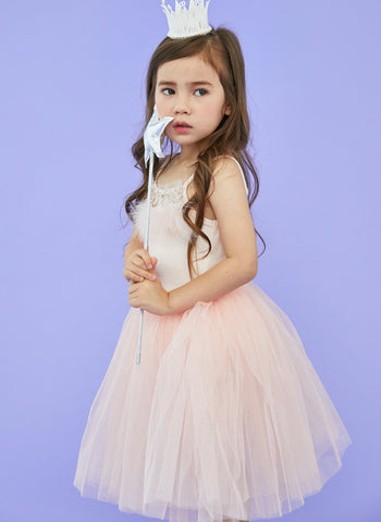 Petite Hailey Feather Tutu Dress in Pink