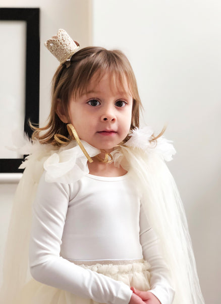 Petite Hailey Dream Feather Cape - Ivory