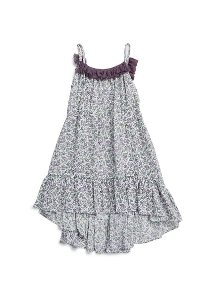 Petite Hailey Ruffle Flower Unbal Dress in Purple - FINAL SALE