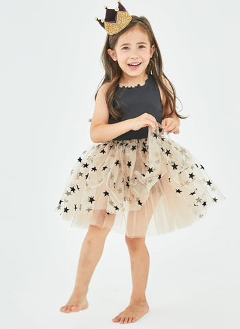Petite Hailey Sparkle Tutu Dress in Charcoal