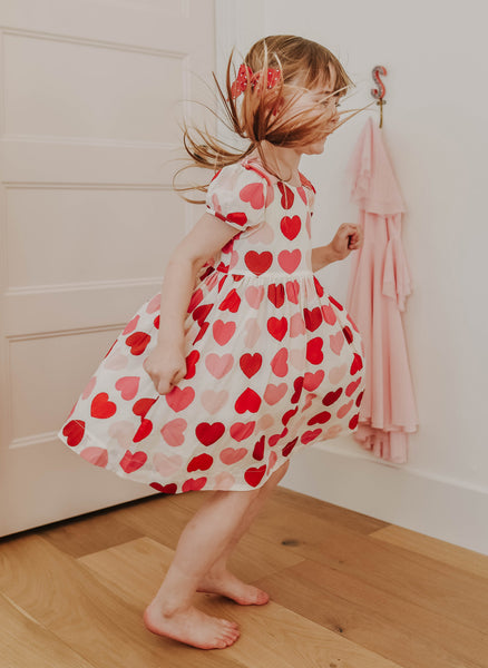 Pink Chicken Erin Dress in Scalloped Hearts