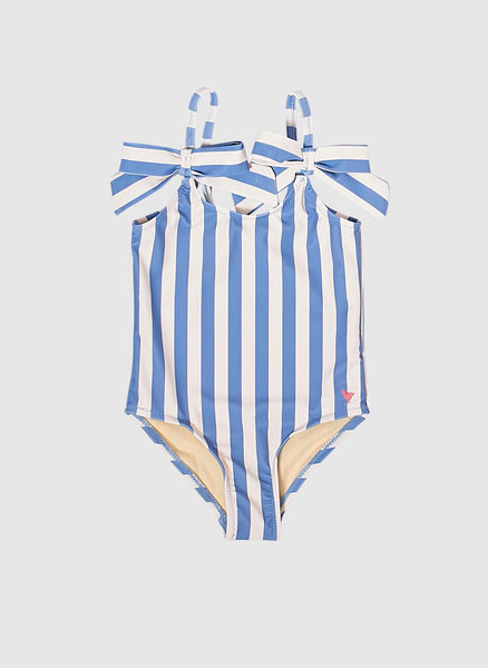 Pink Chicken Swim Bathing Suits in Riviera & Antique White Stripe