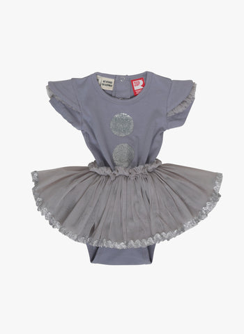 Rock Your Baby Silver Dot Baby Circus Dress - FINAL SALE