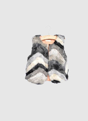SIAOMIMI Faux Fur Vest in Grey Multi