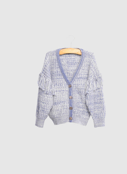 SIAOMIMI Fringe Knitted Cardigan in Mist Heather - FINAL SALE