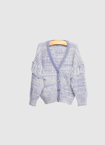 SIAOMIMI Fringe Knitted Cardigan in Mist Heather