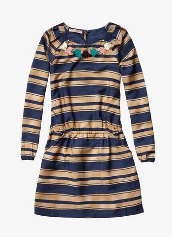 Scotch RBelle Embellished Dress-1454-08.8841 - Navy Stripe