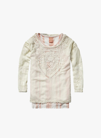 Scotch R'Belle Girls 2-IN1 Style- Woven Top with Lace Detail in Pink Stripe - 1551-02.53401
