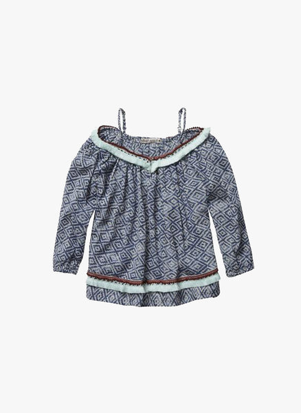 c6bcff7c1 Scotch R Belle Girls Cropped Top with Fringes in Navy Print - 1551 ...