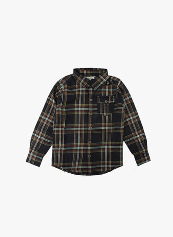 Small Rags Plaid Shirt in Black Checked