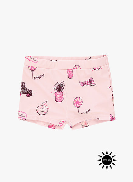 Soft Gallery Pamela Swim Trunk in Vanilla Cream, AOP Candy Rose - FINAL SALE