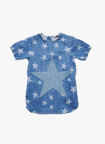 Stella McCartney Kids Bess Girls Star Print Dress in Blue Denim - FINAL SALE