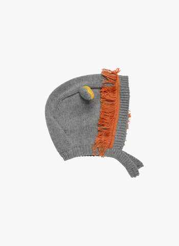 Stella McCartney Kids Chips Lion Baby Knit Hat in Grey