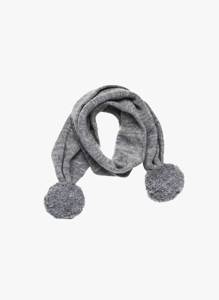 Stella McCartney Kids Elvira Girls Metallic Scarf With Pom Pom in Grey - FINAL SALE