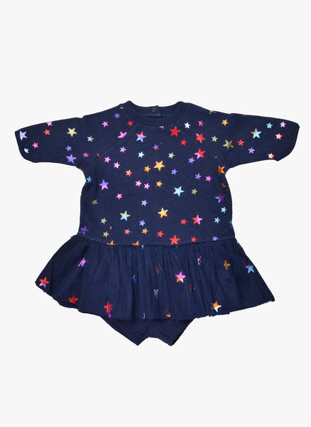 Stella McCartney Kids India Baby Girl Multicolor Star Knit Print Dress in Blue