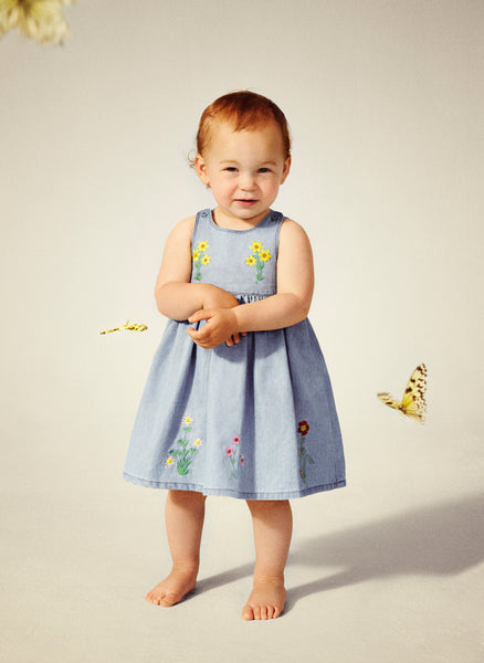 Stella McCartney Kids Posie Baby Girl Floral Embroidered Chambray Dress in Light Blue