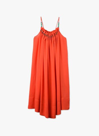 Stella McCartney Kids Hope Girls Flowy Crepe Dress w/ Beads at neck in Red/Orange