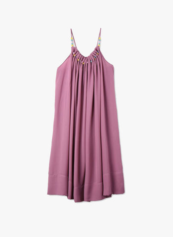Stella McCartney Kids Hope Girls Flowy Crepe Dress w/ Beads at neck in Lilac - FINAL SALE