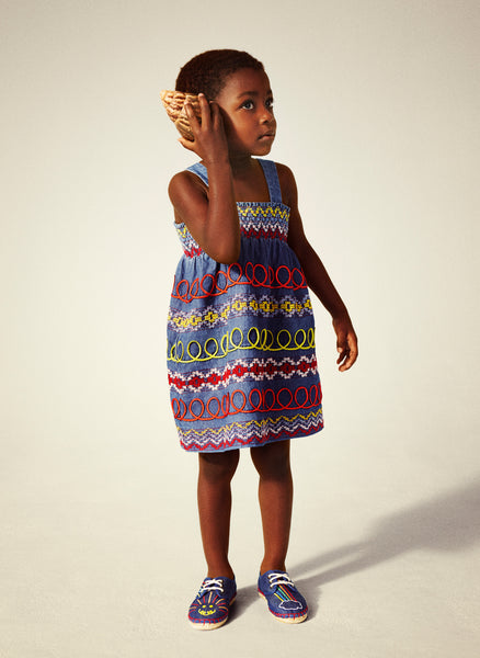 Stella McCartney Kids Magnolia Girl Multicolor Embroidered  Chambray Dress