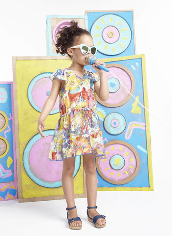 Stella McCartney Kids Nellie Girls Floral Dress w/ Flutter Sleeves - FINAL SALE