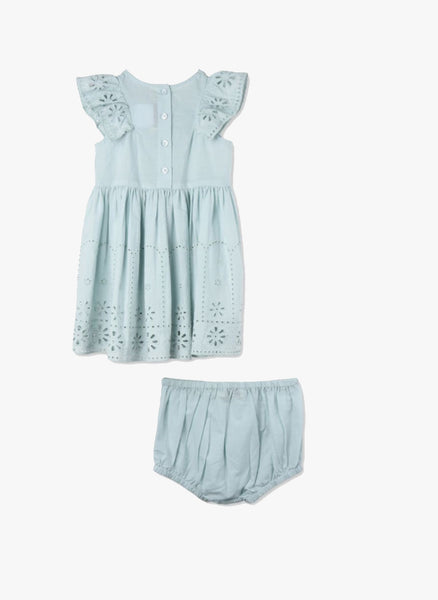 Stella McCartney Kids Sundae Baby Girl Flutter Sleeve Eyelet Dress in Mint Blue