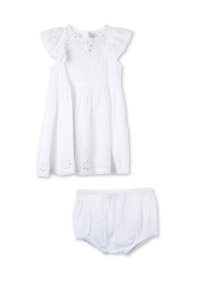 Stella McCartney Kids Sundae Baby Girl Flutter Sleeve Eyelet Dress in White