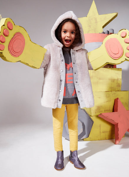 Stella McCartney Kids Treasure Girls Faux Fur Hooded Jacket in Light Grey - FINAL SALE