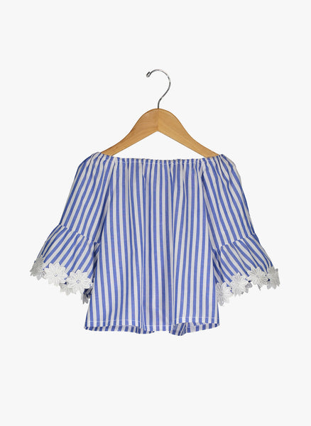 Vierra Rose Ivana Big Sleeve Top in Blue and White Stripe - FINAL SALE